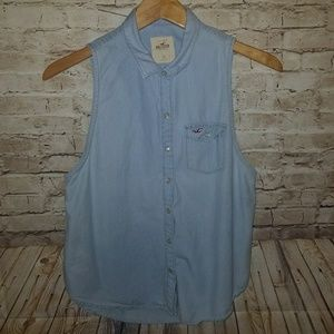HOLLISTER Chambray Pearl Snap Sleeveless Down Top
